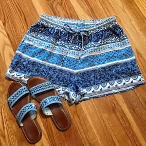 Drawstring Shorts blue print size M